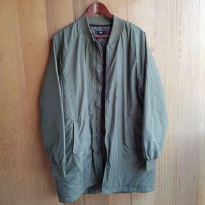 Mossimo Olive Green Long Bomber Jacket
